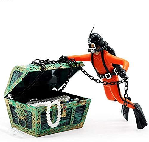 Ysislybin Decoración para acuario, cofre del tesoro, buceo, decoración para acuario, decoración de acuario, submarinismo y cofre del tesoro, decoración de peces, decoración (naranja)