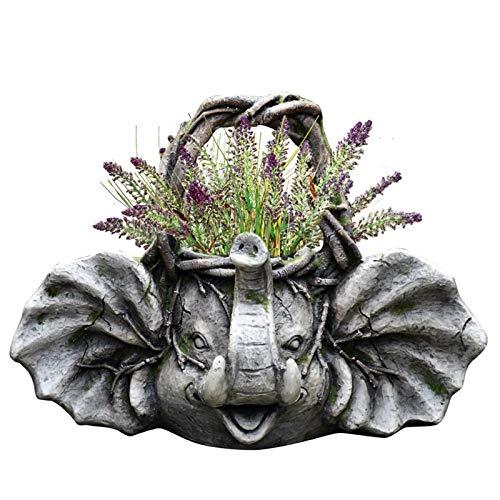 Decoración del Hogar Escultura Maceta Pies de flores GPWDSN, Jardín de la escultura de la maceta, Animal plantador de la flor de la planta de óxido de magnesio creativo flor de la decoración desgastad