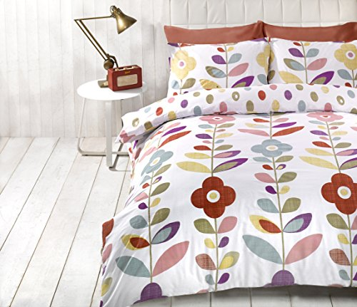 Essence Lulu Flowers Reversible Duvet Cover Quilt Bedding Set, King Size (Blue, Red, Pink, Yellow, White)