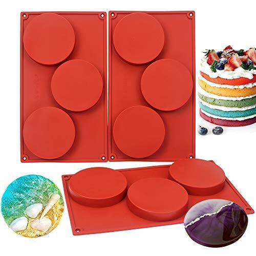 BAKER DEPOT Silikonform für Eis, Eiswürfel, Pudding, Gelee, Backzubehör, Backform, verschiedene Kombinationen Große runde Form 3er Set