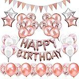 KIPIDA Geburtstagsdeko Rose Gold für 18 Mädchen, Geburtstag Party Dekorationen Mädchen Kindergeburtstag Deko Happy Birthday Girlande uchstaben Folienballon, Geburtstagsüberraschung für Tochter Frauen