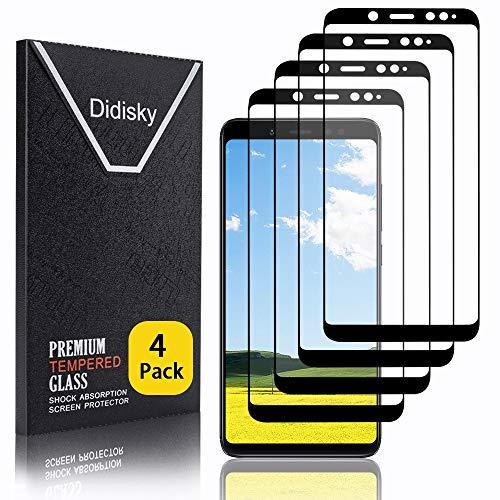 Didisky Vetro Temperato per Xiaomi Redmi Note 5 / Note 5 PRO, [4 Pezzi ] Pellicola Protettiva Copre Assolutamente Lo Schermo, Compatibile con la Cover, Trasparente (Nero)