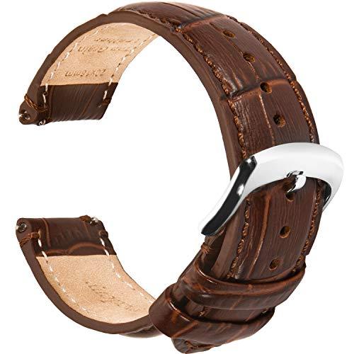 Penelopedeny Cinturini per orologi in pelle di alligatore 18mm 20mm 22mm, Braccialetti di ricambio a sgancio rapido imbottiti per uomo e donna