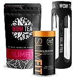 WOW TEA DIETA KIT: Programma con Pasto Sostitutivo Premium e 9 Superalimenti | Potente Tè Dimagrante per Perdita di peso ottimizzata in Modo Naturale + Bottiglia nera con Infusore -300 gr