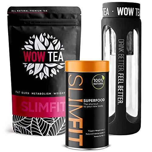 WOW TEA Combo de pérdida de peso - Cuerpo natural delgado y en forma | Paquete de 1 mes | Té adelgazante de hierbas & Polvo de reemplazo de comidas & Botella de té negro | 300g, 550ml, Made in EU