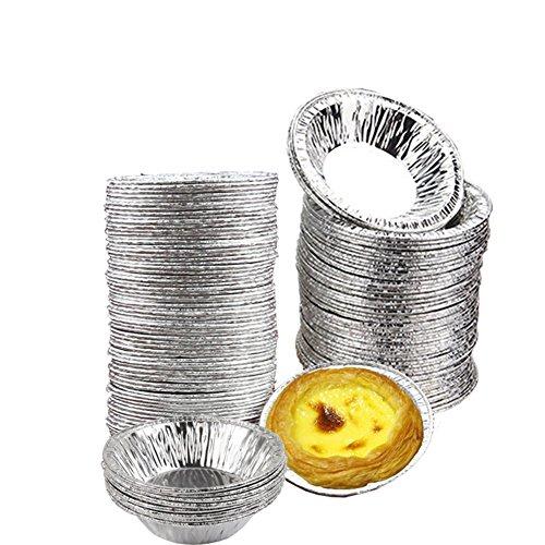 Ciaoed 50 PCS Desechables Tazas de Papel de Aluminio Para Hornear Hornear Muffin Cupcake Molde de Estaño Redondo Huevo Tarta Latas del Molde del Molde