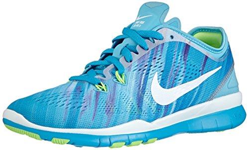 Nike Free Trainer 5 Print, Damen Hallenschuhe, Blau (Clrwtr/white-bl lgn-flsh lm 400), 40.5 EU