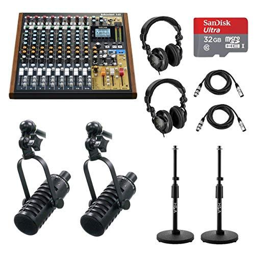Fantastic Deal! Tascam Model 12 Integrated Production Suite Mixer - 2x MXL BCD-1 Live Broadcast Micr...