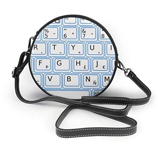 naotaori Runde Damentasche Women's Round PU Leather Crossbody Messenger Shoulder Bag Keyboard Computer Circle Tote Hobo Bag For Girls Sling Bag