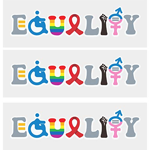 5 Pieces 2 x 6 Inch Vinyl Bumper Stickers Equality Sign Stickers Waterproof Equal Window Decals Funny Car Equality Stickers for Windows, Trucks, Cars and Laptops Decoration