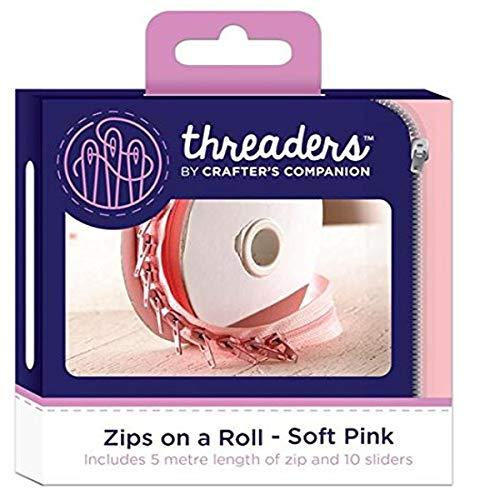 Threaders Cremalleras en un Rollo–Suave Color Rosa