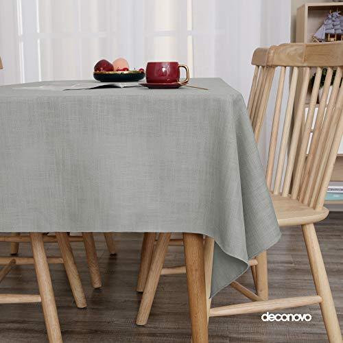 Deconovo Tischdecke Wasserabweisend Leinenoptik Tischwäsche Lotuseffekt Tischtuch 130x130 cm Grau