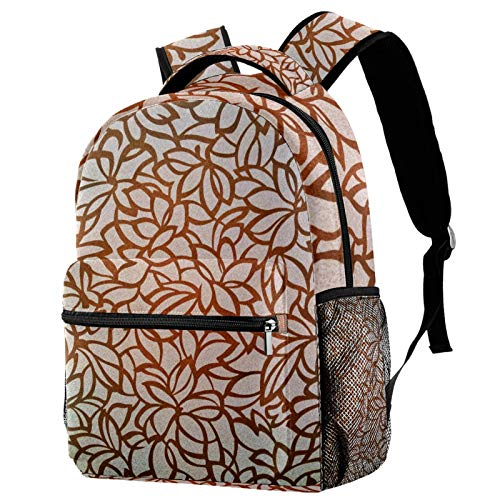 12' Travel Backpack, Durable College School Backpack Women Girl Casual Daypack(11.5x8x16 in),Gold Flowers