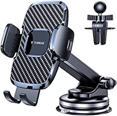 TORRAS Latest Cell Phone Holder for Car, [Enhanced Suction Cup] Car Phone Holder Mount Dashboard/ Windshield/ Air Vent, Car Phone Mount Fits for iPhone 12 11 Pro Max X XR, S21 20+Ultra Note 20