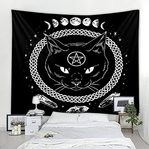 Mandala Fantasy Cat Tapestry Tarot Wall Hanging Astrology Divination Witchcraft Room Decoration Tapestry A1 150x200cm