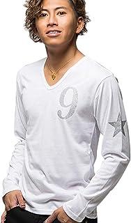 (キャバリア)CavariA メンズ 長袖 Tシャツ ロンT Vネック ブイネック ラメ プリント ロゴ カットソー【-】