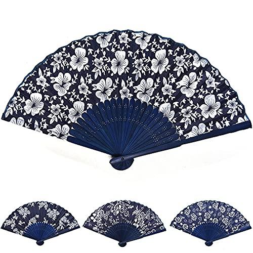 Xushiwanju Accesorios de verano abanico plegable diseño de flores estilo chino azul tela abanico con marco de bambú azul teñido boda fiesta regalo hermosas decoraciones
