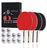 Upstreet The Box Set: 4 Ping Pong Paddles with 3 Star Ping Pong Balls for Table Tennis