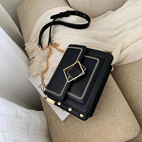 Hzryc Bolso De Hombro De La PU del Bolso De Hombro De Cuero para Las Mujeres Pequeña Bolsa De Mensajero Bloqueo del Diseño Bolsas De Viaje Mujer Especial,Negro,21x16x8cm
