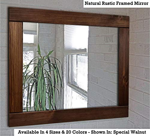 Natural Rustic Wood Framed Mirror Available in 4 Sizes and 20 Stain Colors: Shown in Special Walnut - Large Framed Mirror - Home Decor - Reclaimed Rustic Home Decor Mirror - Vanity Mirror