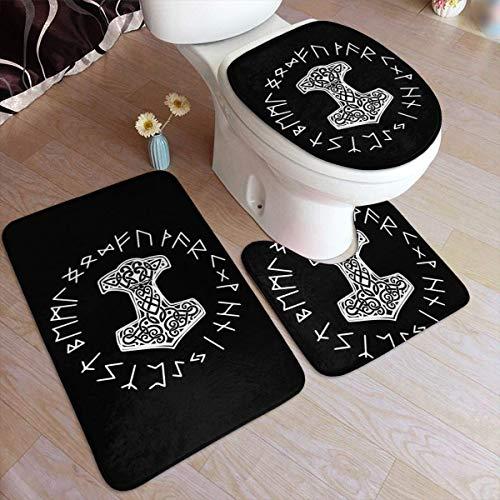 FETEAM Wikinger Mjolnir und Rune Wheel Norse Mythology Symbol Badmatten Set 3 Stück mit Rückenpolster Badematte + Kontur Teppich + WC-Deckel Abdeckung