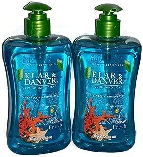 Klar and Danver Liquid Hand Soap. Two, Extra Large 15 Fl Oz Bottles. (Ocean Fresh) by Klar and Danver
