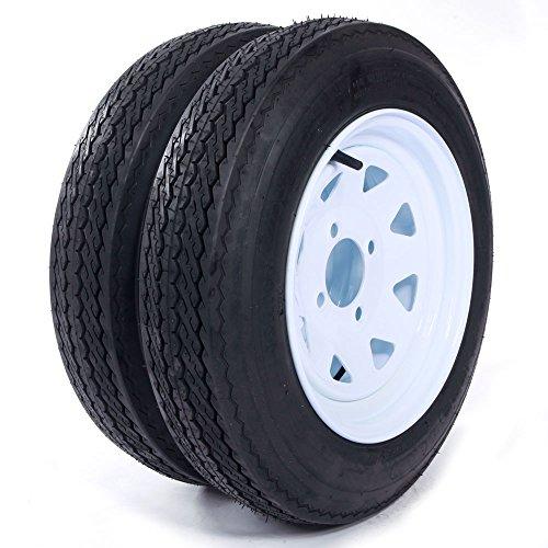 MILLION PARTS Set of 2 12' Trailer Tires & Rims 4.80-12 480-12 4.80 X 12 4 Lug 4PR Wheel White Spoke