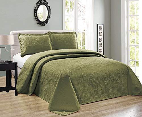 Elegant Home Tagesdecke in Übergröße, Olivgrün, einfarbig, geprägtes Blumenmuster, gestreift, 3-teilig, Queen/Full-Size (Queen/Full, Salbeigrün)