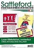 Sattleford Laserfolie: 5 Klebefolien wetterfest A4 für Laserdrucker weiß (Laser Klebefolien)
