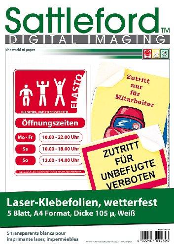 Sattleford Laser Etiketten: 5 Klebefolien wetterfest A4 für Laserdrucker weiß (Etiketten wasserfest)