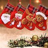 LS LETONG SINIAN Calcetín de Navidad, 4 Piezas de Medias de Navidad con patrón de Reno de muñeco de Nieve de Santa | Bolsa de Dulces con Adornos navideños | Relleno y Adornos navideños Calcetín