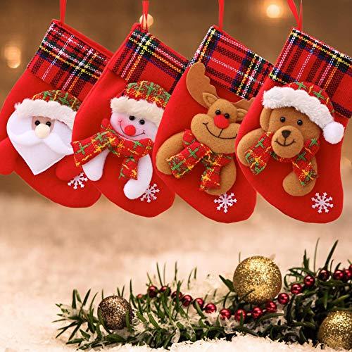 LS LETONG SINIAN Weihnachtsstrumpf Set 4 Stück Weihnachten Kreative Puppe Nikolausstiefel Geschenkbeutel Weihnachtsbaum Anhänger Weihnachtsdekoration Für Weihnachtsfeier Dekorieren (4pcs/b)