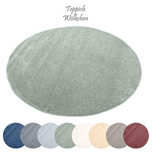 Designer-Teppich Pastell Kollektion | Flauschige Flachflor Teppiche fürs Wohnzimmer, Esszimmer, Schlafzimmer oder Kinderzimmer | Einfarbig, Schadstoffgeprüft (Mint Grün, 120 cm rund)