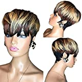 Sumcas Pixie Cut Wigs for Black Women Human Hair Short Bob Wigs with Bangs Black Mixed Brown Highlight Color Wigs African American 1B/4/27 Mixed Color