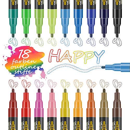 GEEDIAR Outline Stifte Zauberstifte Kinder Graffiti Stifte 18 Farben Glossy Magic Pens Wasserfest Glitzer Marker Stifte für Malen, Steine, Geschenkkarte, DIY Fotoalbum, Scrapbook