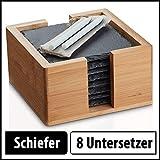 Sir Finley Monkey Schiefer Untersetzer Set für Gläser mit Halter (quadratisch), 8 Glasuntersetzer...