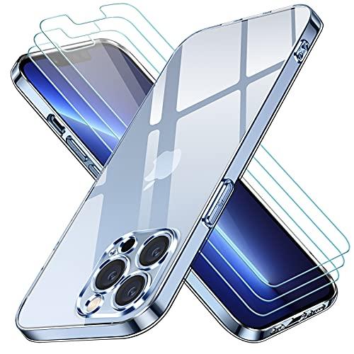 iVoler Funda Compatible con iPhone 13 Pro Max con Protección de La Cámara, Carcasa Protectora con 3 Piezas Cristal Templado, Transparente Suave TPU Silicona Anti-Choque Caso Delgada Anti-arañazos Case