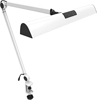 YOUKOYI A509 LED Swing Arm Architect Desk Lamp Clamp, Drafting Table Lamp for Reading/Working (2 Lighting Modes, 4-level Dimmable, Eye Caring)-Silver