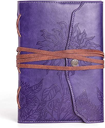 ValeRY Sunflower - Diario A5 vintage, cuaderno a rayas, 233 páginas, diario de viaje de piel vegana, encuadernado y rellenable, regalo para hombre y mujer (morado)