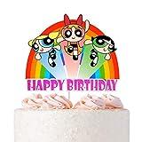 Glitter Powerpuff Girls Cake Topper - Happy Birthday Cartoon Cake Decoraitons for Children's Birthday Baby Shower Party Decorations Supplies