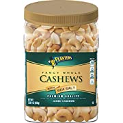 PLANTERS Fancy Whole Cashews with Sea Salt, 33 oz. Resealable Jar   Snack for Adults Made with Simple Ingredients   Good Source of Essential Nutrients   Kosher