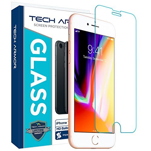 Tech Armor Apple iPhone 6 Plus/6s Plus, iPhone 7 Plus, iPhone 8 Plus Ballistic Glass Screen Protector, HD Clear [1-Pack]