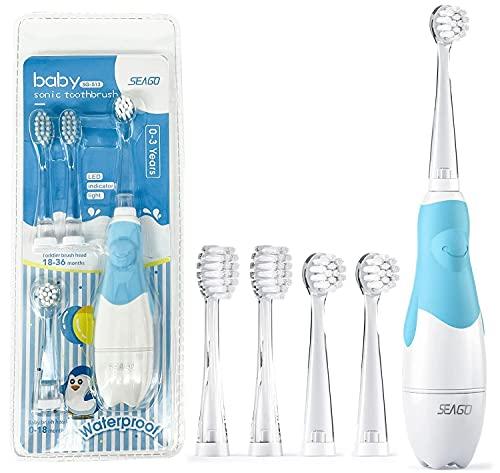 Seago 513 Elektrische Zahnbürste kinder ab 1 jahr, Baby Zahnbürste Kinder Elektrisch mit 2 Mins Smart Timer LED-Licht, Schallzahnbürste mit 3 Ersetzen Bürstenkopf, Batteriebetrieben Zahnbürste (Blau)