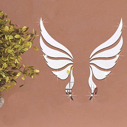 Mondial-fete – 2 engelenvleugels acryl spiegel zilver 3D zelfklevend (35 x 35 cm)