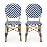 Christopher Knight Home 314440 Picardy Outdoor Bistro Chair, Navy Blue + White + Bamboo Finish