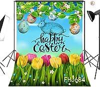 写真撮影のための新しい春のイースターの背景7x10ft生地咲く花緑の草の卵の背景カスタマイズされた子供子供大人の肖像画写真の背景スタジオ小道具洗える
