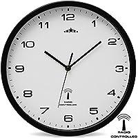 Reloj de Pared Radiocontrolado Reloj de Cuarzo Analógico 31 cm Ajuste de Hora Automático