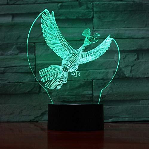 Usb 3D illusie lamp met 3D-vogels, slaapkamer, slaapkamer, led-tafellamp, kindernachtlampje, kerstcadeau, kleurrijke romantische cadeaus voor kinderen en vrienden