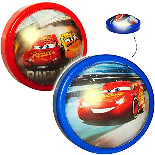 alles-meine.de GmbH 2 Stück _ LED Nachtlichter -  Disney Cars / Lightning McQueen - Auto - rot  - Batterie betrieben - Schlummerlicht / magisches Licht - zum Drücken - Touch - ..