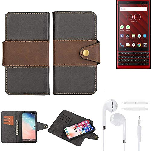 K-S-Trade® Handy-Hülle Schutz-Hülle Bookstyle Wallet-Case Für BlackBerry KEY2 Red Edition + Earphones Bumper R&umschutz Schwarz-braun 1x